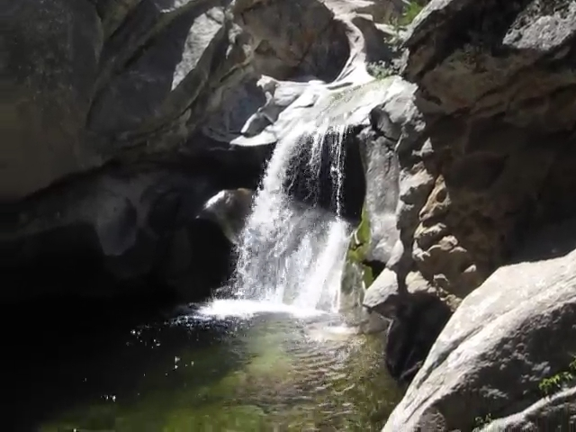 348 Video of the waterfall and pool below Carumba Camp on Tahquitz Creek