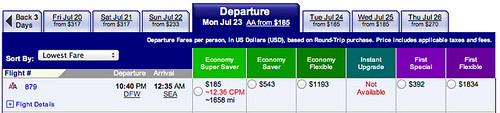 Fare search DFW to Seattle