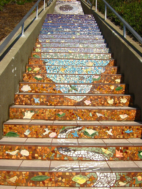 The 16th Avenue Tiled Steps Project, San Francisco. Creation led by artists Colette Crutcher and Aileen Barr