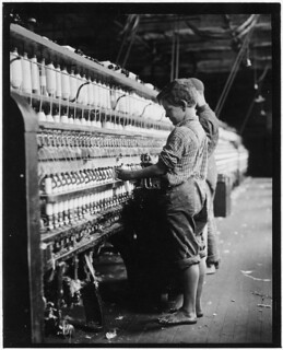 Young doffer in North Pownal Mill. North Pownal, Vt, August 1910