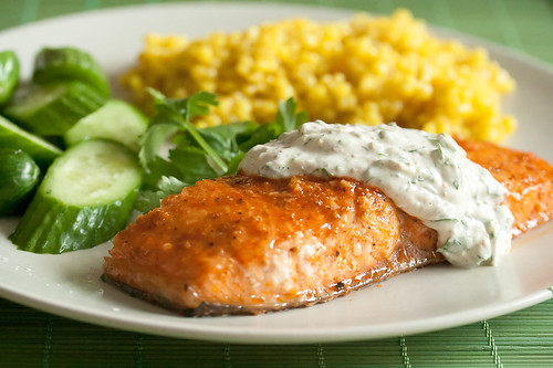 Coriander Planked Salmon with Cilantro-Yogurt Sauce