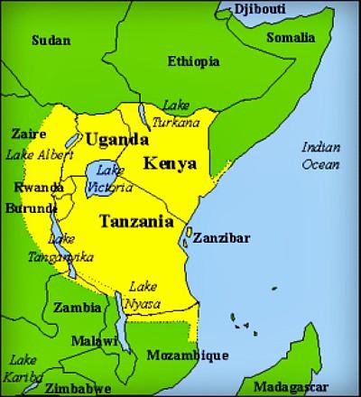 Kenya Tanzania Uganda map