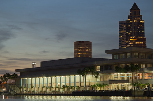 Downtown Tampa's Convention Center and Sykes Building from Harbor Island at Sunset