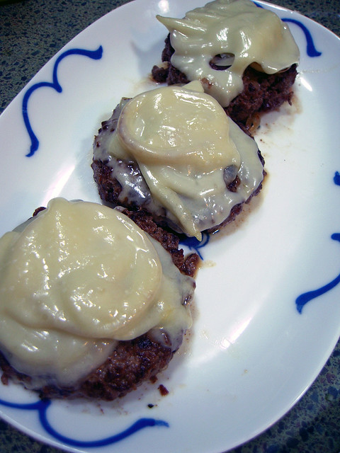 Swiss Cheese Topped Stuffed Cheddar Burgeres