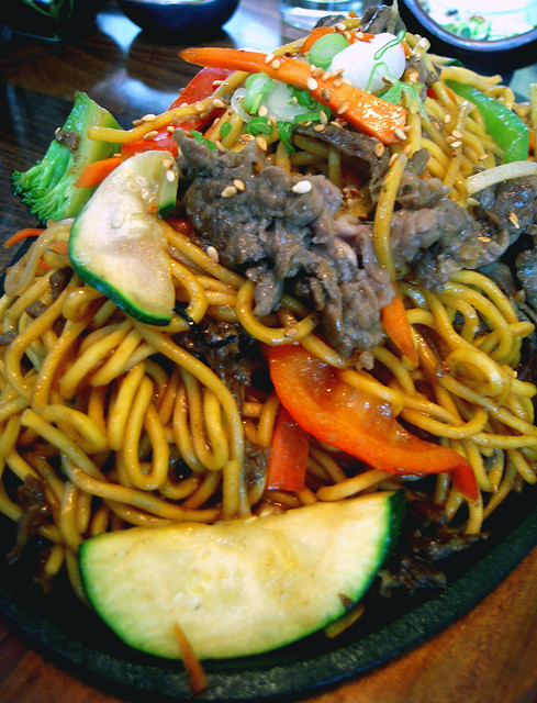 Beef Yakisoba on a Sizzling Platter