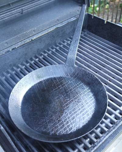hot pan on the grill