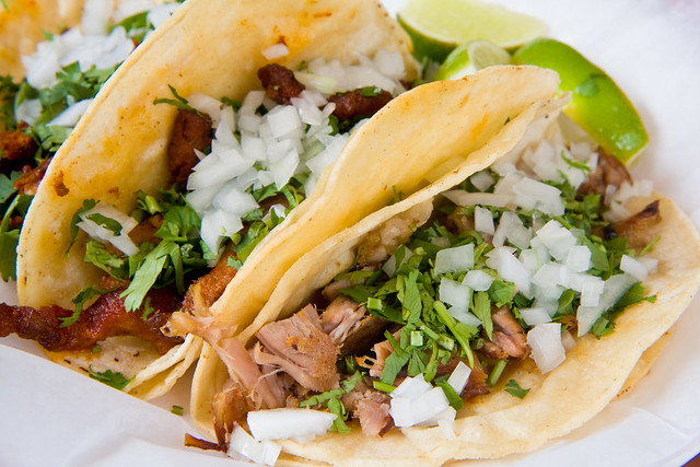 Carnitas and al pastor tacos, El Aguila