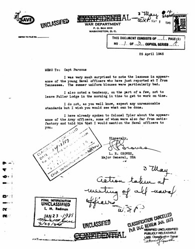 General Groves to Captain Parsons April 25 1945