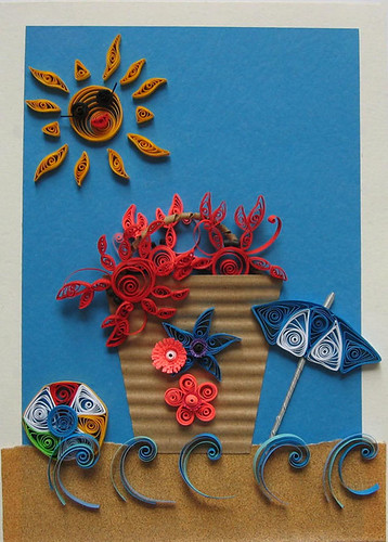 Quilled Beach Scene Card