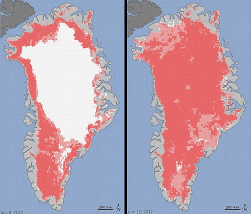 Области, окрашенные в темно-розовый цвет, демонстрируют регионы, в которых сразу два или три спутника обнаружили доказательства таяния. Области, окрашенные в светло-розовый цвет, демонстрируют регионы, в которых только один спутник обнаружил доказательства таяния