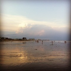 low tide at sunset #oob #summer #maine #beach