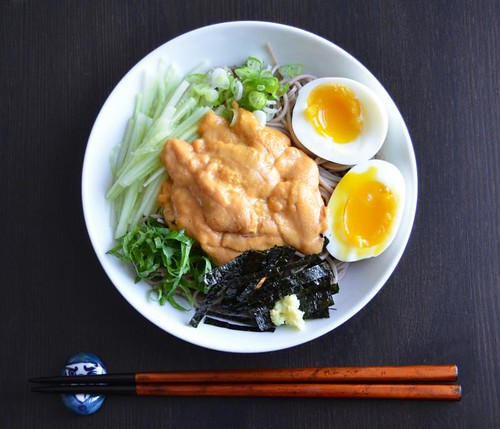 cold soba with uni