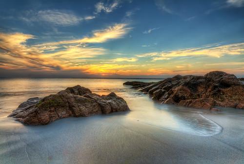 ocean sunset sea sky sun color beach water clouds island bay sand rocks day waves little dusk compton stones clear rhode hdr narragansett sakonnet sakonnetpoint