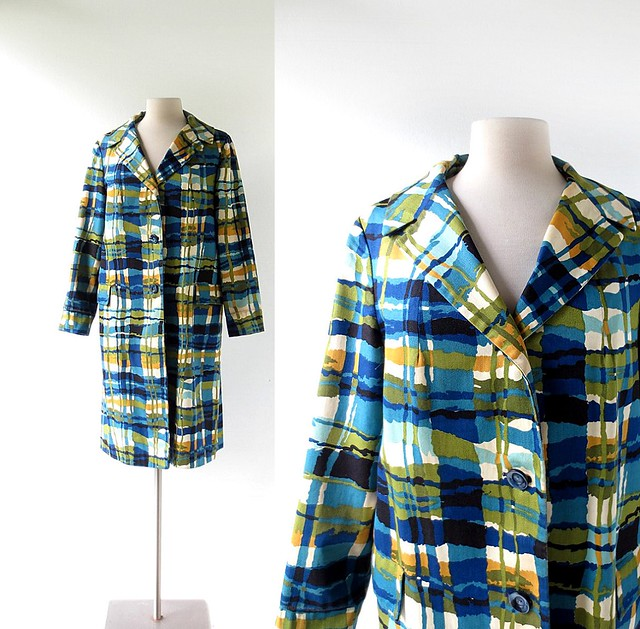 1960s sketched plaid raincoat, from Weatherbee