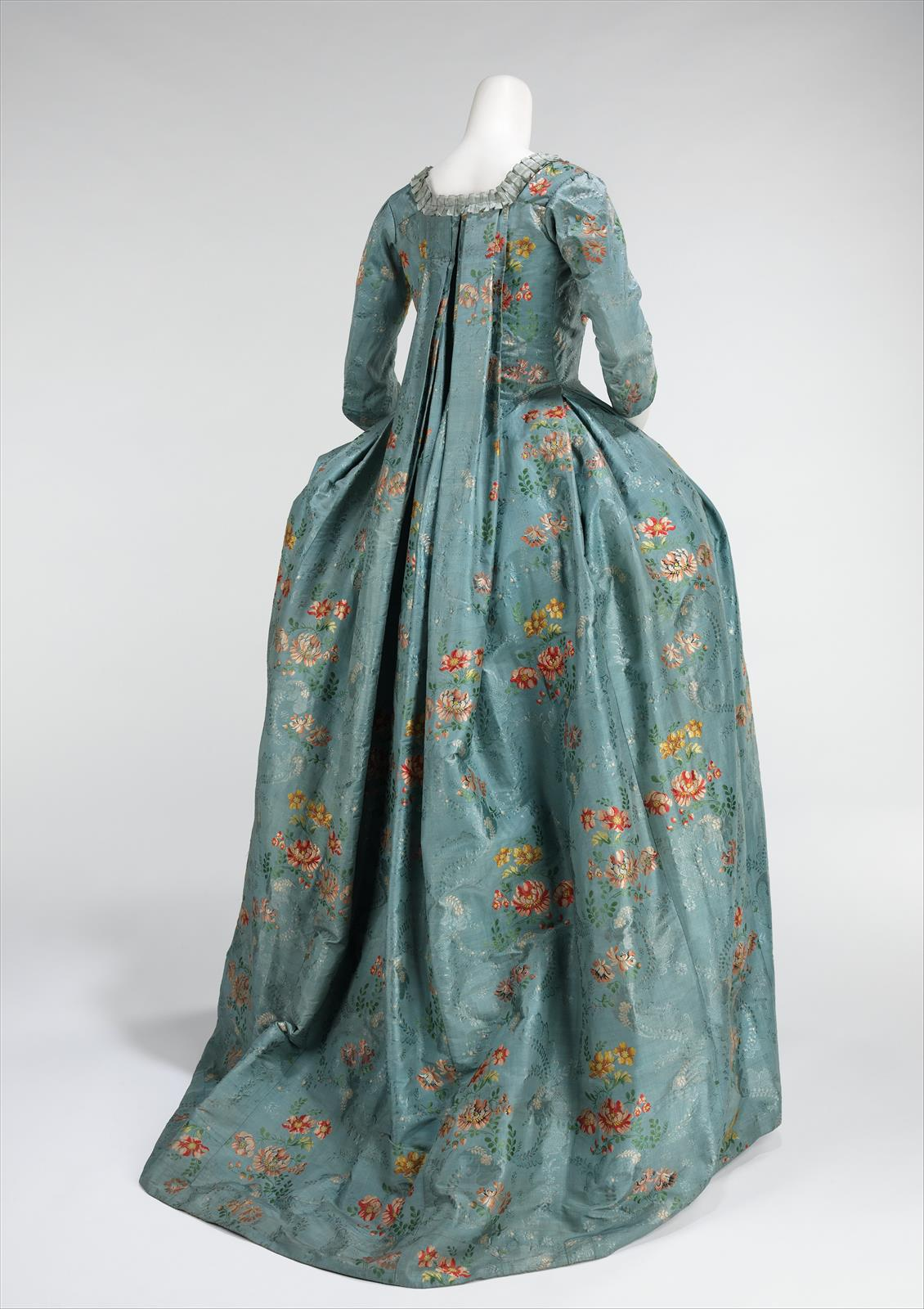 1765. Robe à la Française. French. Silk, cotton. metmuseum