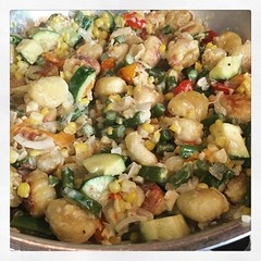 Browned gnocchi with (all fdc) local summer veggies!! Major yum!  #fdc #eatrealfood #homemade #eatlocal #homecooking