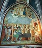 """Gothic chapel with frescoes by a unknown painter of Siena, 14th century: """"Virgin Mary's death"""" and """"Assumption in the Heaven between musician angels"""" - Monastery of """"Sacro Speco"""" (=Holy cave) of Saint Benedict - Subiaco (Rome)"""