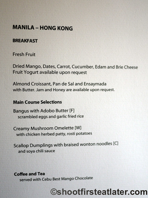 Philippine Airlines Meals- breakfast menu