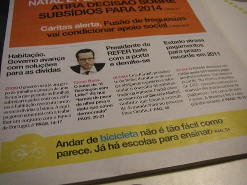 Capa do jornal i de 1 de Maio de 2012