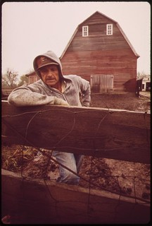 John Dolezal stands in rain on his farm near Bee,  Nebraska double the normal rainfall this year compounded the problems of the region's farmers, May 1973
