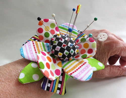 Fun and funky wrist pincushion