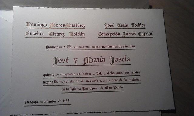 Invitación de boda, 1955