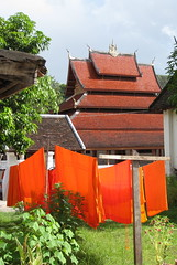 monks robes drying on the line