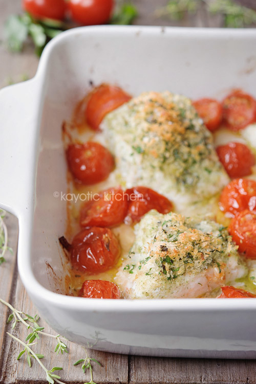 Baked Cod With Crispy Herb Topping