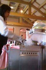 Cooking the kai-lan tableside