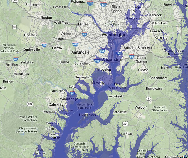 30m sea level rise along the Potomac