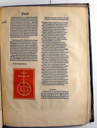 Colophon of Ockam, Guilielmus: Quaestiones et decisiones in IV libros Sententiarum