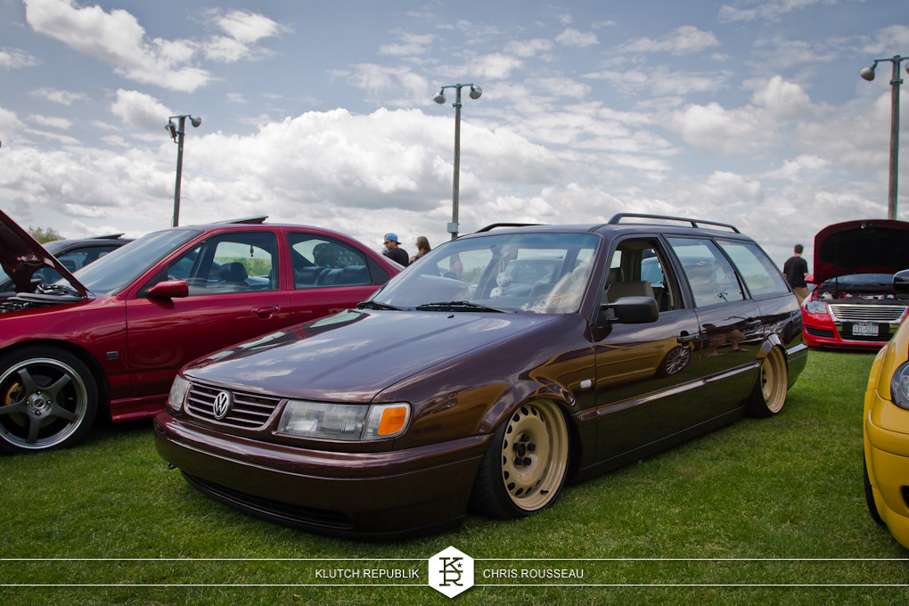 b4 vw passat wagon on airride and widened steelies at staggered 2012