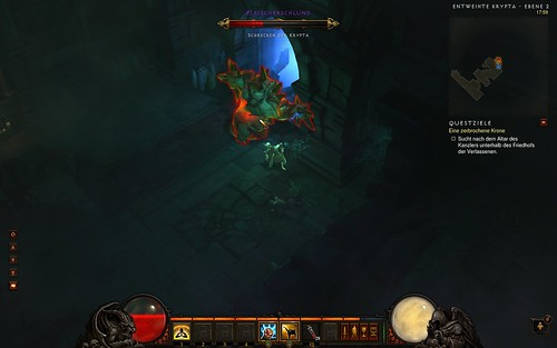 Diablo 3 Kampf gegen Fleischerschlund in Entweihter Krypta