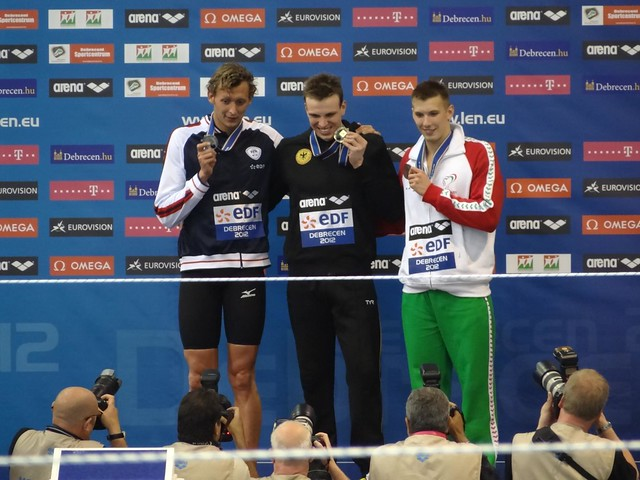 Debrecen 2012 Men's 200 freestyle medal podium