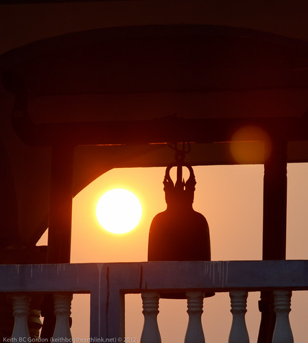 sunset silhouette temple haze bell laos huixia