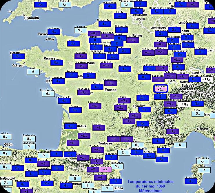 températures minimales records et gelées du 1er mai 1960 météopassion