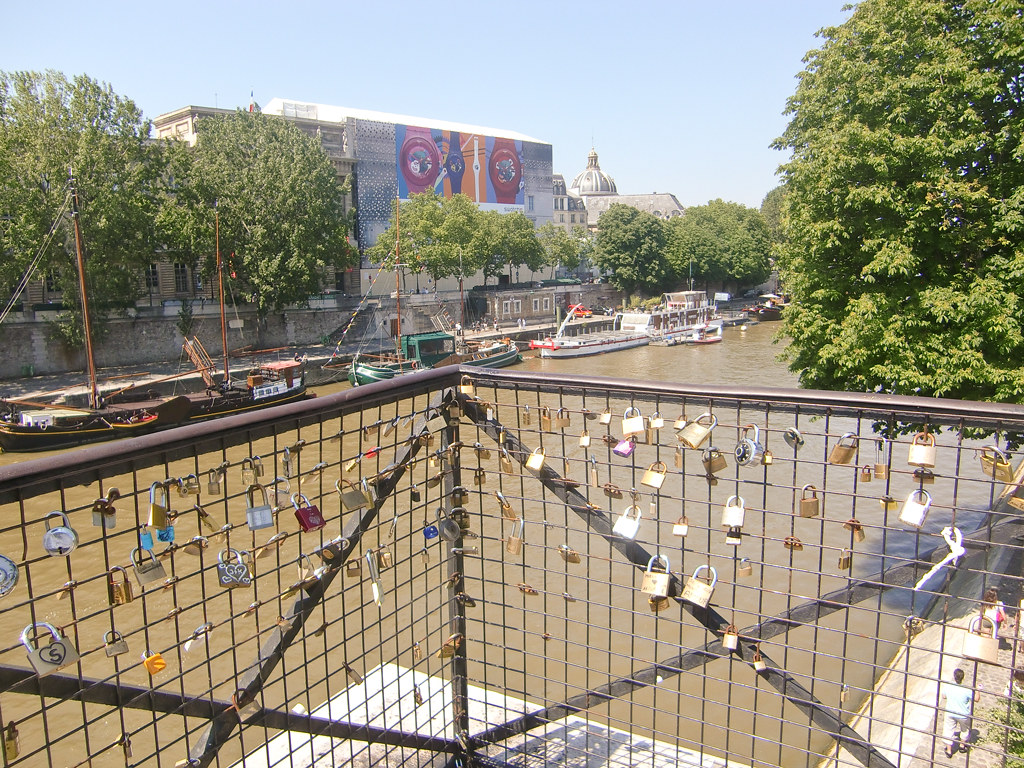 Love-locks on the brigde Pont des Arts in Paris