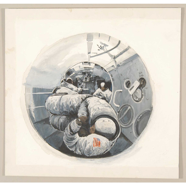 sketch inside space craft from above one astronaut into 2nd module beyond