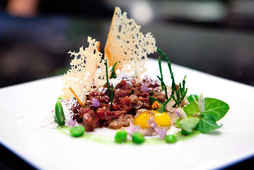 Chef de Cuisine Marc Zimmerman's new beef belly tartare dish