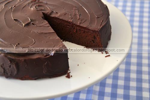 Almost-fudge gâteau, já cortado