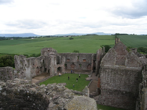 Raglan castle and view