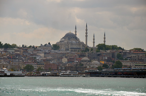 View from the ferry ride from the European side of Istanbul, Turkey, to the Asian side.