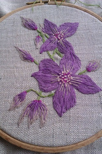 clematis embroidery by Handmade and Heritage