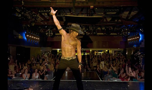 Matthew McConaughey, shirtless, on the set of Magic Mike