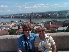 UWS professor Beth Gilbert and alumna Ann Rock overlooking Budapest