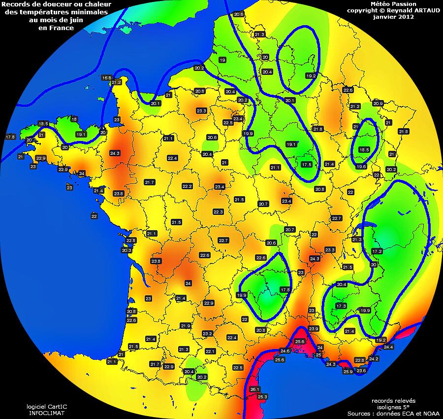 records de douceur ou chaleur des températures minimales au mois de juin en France Reynald ARTAUD météopassion