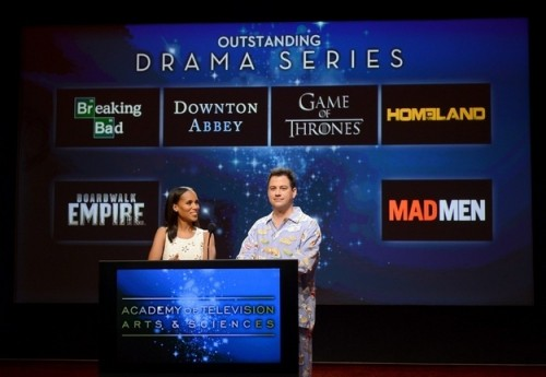 Jimmy Kimmel and Kerry Washington announcing the emmy nominations this morning.
