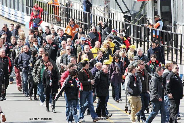 Busy in the pit lane ahead of the BTCC at Donington Park in April 2012