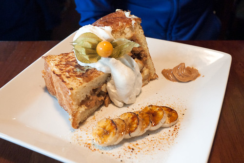 Peanut Butter Banana Bacon Stuffed French Toast @ Fine Diner