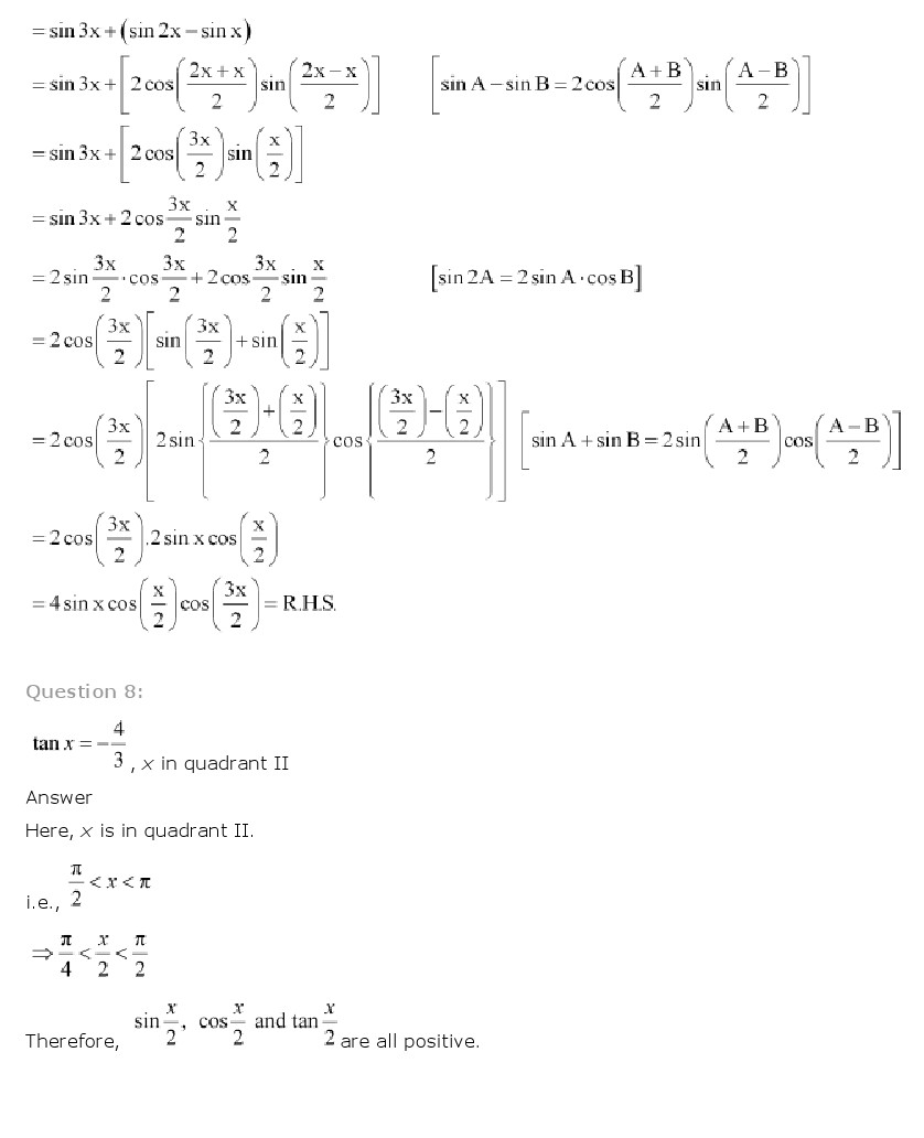 NCERT Solutions for Class 11 Maths Chapter 3 - Trigonometric Functions